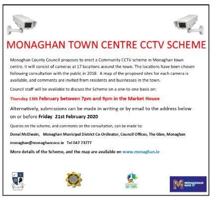 Monaghan Town Centre CCTV Scheme Consultation 2020