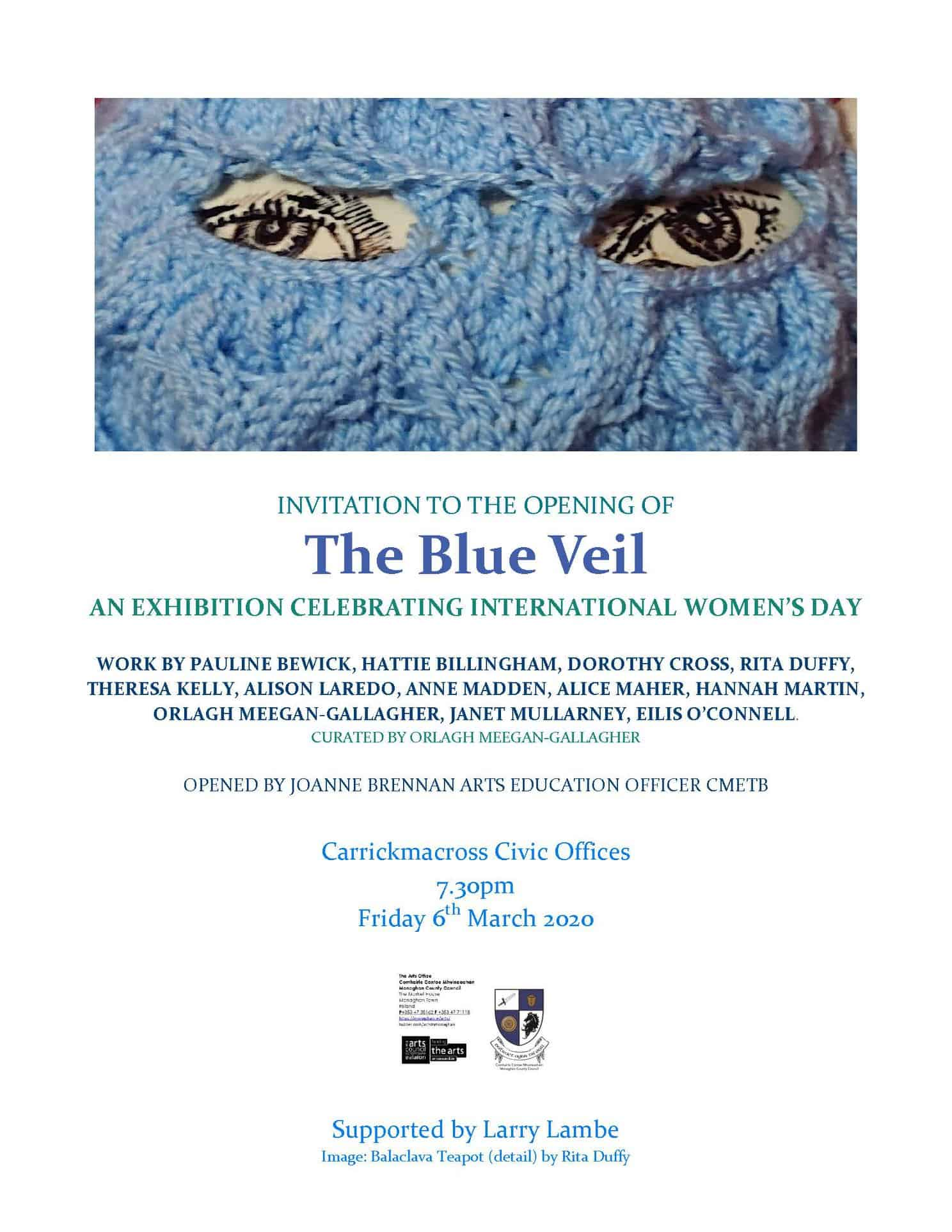 Invitation To The Opening Of The Blue Veil: An Exhibition Celebrating International Women's Day