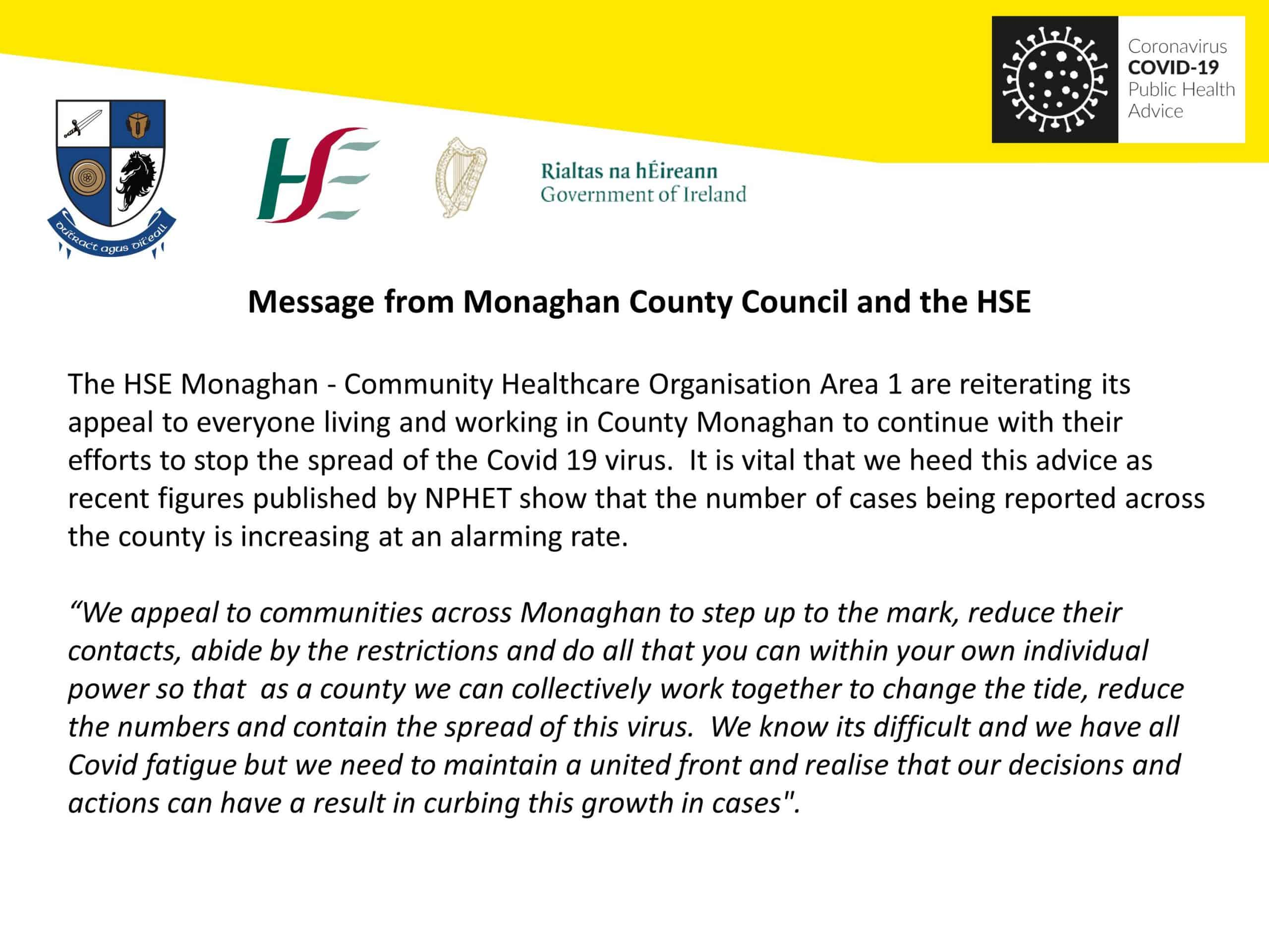 Message from Monaghan County Council and the HSE.