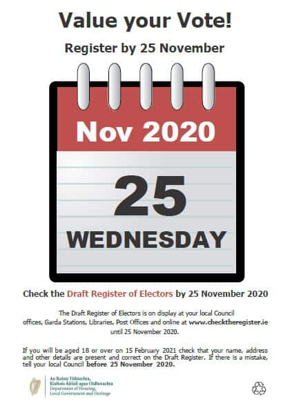 Draft Register Notice: Value your Vote! Register by 25 November